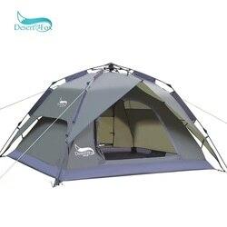 Desert & Vos Automatische Camping Tent, 3-4 Persoons Familie Tent Dubbele Laag Instant Setup Portable Backpacken Tent Voor Wandelen Reizen