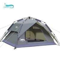 Tente automatique de Camping de désert et de renard, tente de sac à dos portative d'installation instantanée de Double couche de tente familiale de 3-4 personnes pour le voyage de randonnée