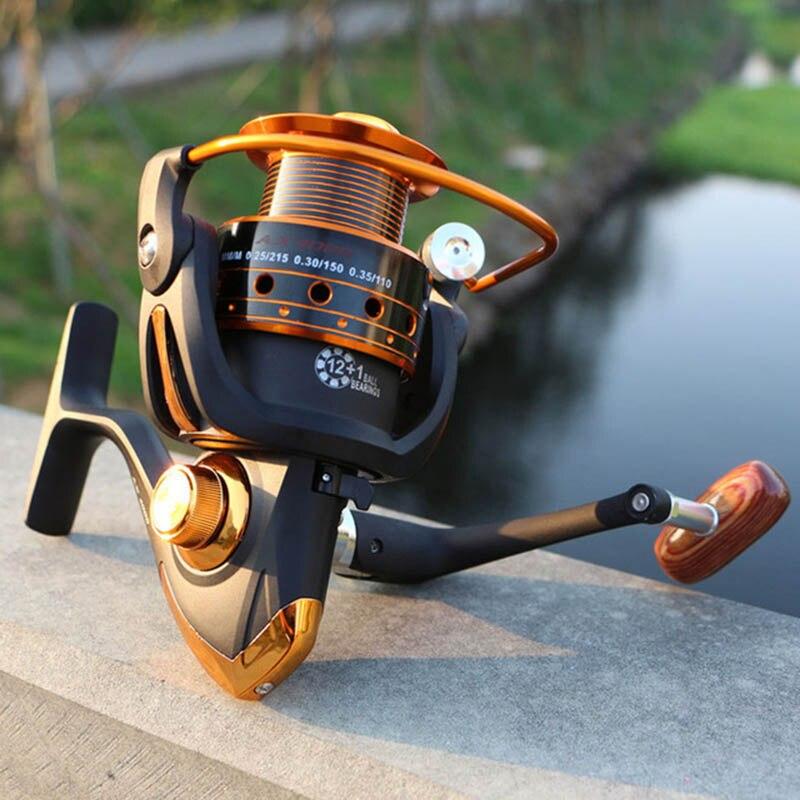 Carretel de Pesca fiação 12BB + 1 Bolas de Rolamento 500-9000 Series Bobina De Metal Girando Roda Barco Carretel de Pesca Rocha