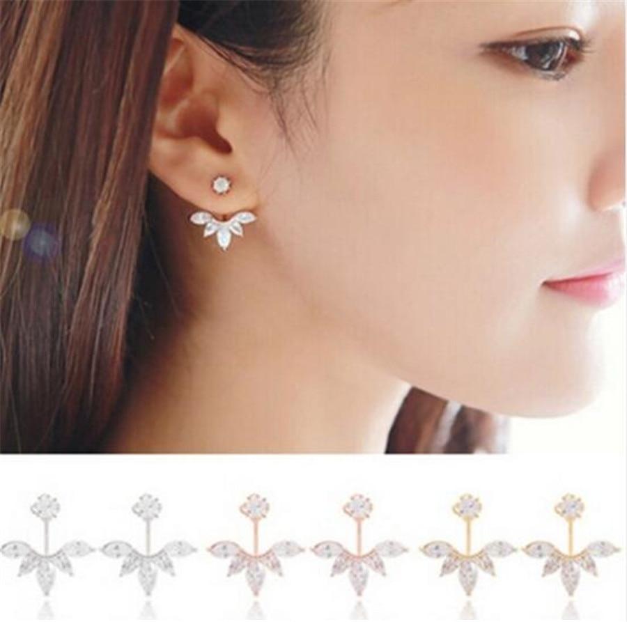 2016 New Zircon Crystal 3 Colors Rose Gold Ear Cuff Clip Leaf Stud Earrings For Women Jacket Piercing Earrings Fine Jewelry