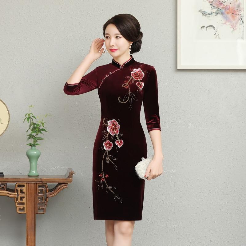 Classic Mandarin Collar Chinese Dress Autumn Winter Women Velvet Short Slim Qipao Big Size Floral Beaded