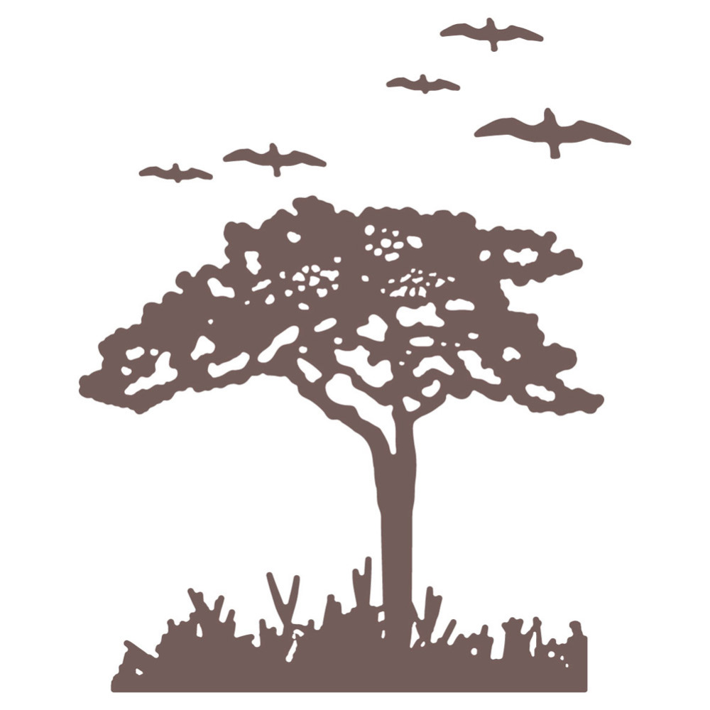 85*90mm Big Tree and Birds Metal Cutting Dies and Clear Stamp Set for DIY Scrapbooking Photo Album Decoretive Embossing Stencial