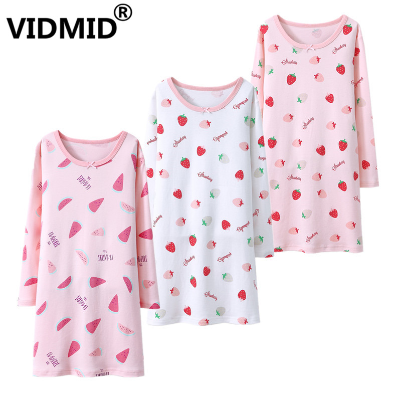 VIDMID Mädchen nachthemd nachtwäsche Kleidung Kinder Kleid langarm wassermelone Erdbeere kleidung kinder nachtwäsche robe 7010 99