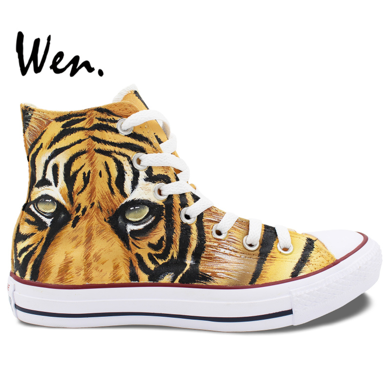 Wen Design Custom font b Shoes b font Hand Painted Sneakers Tiger Yellow High Top font