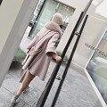 Шерстяное Пальто Куртки Кашемира Женщин Зима и осень девушка Пальто С Большой настоящее фокс меховым воротником смеси пояс 2016 Новый