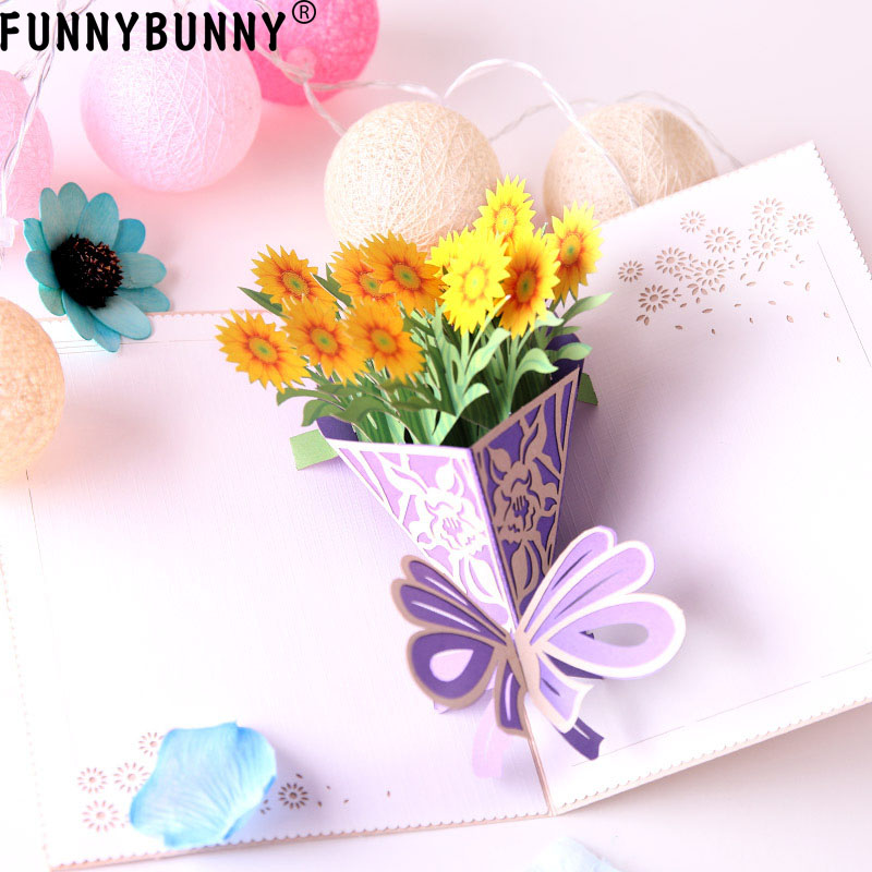 FUNNYBUNNY 3D Pop Up Sun Flowers Cards Happy Anniversary Greeting