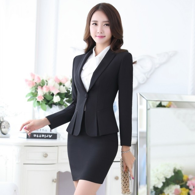 Formal Black Blazer Women Business Suits with Skirt and Top Sets Elegant  Ladies Office Suits Work Wear Uniforms OL Style f514bdbc6a7c