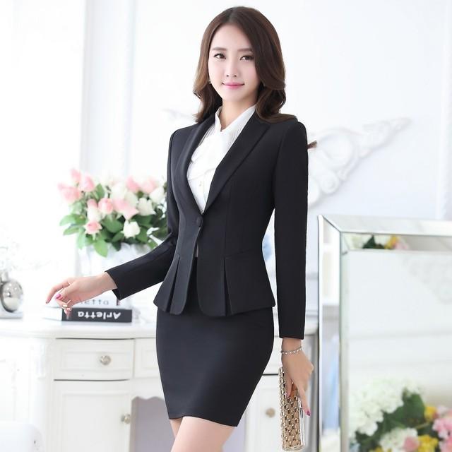 e7da80246 Formal negro Blazer mujer negocios trajes con falda y Top conjuntos elegantes  señoras Oficina trajes trabajo