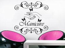 Wall Decal Manicure Vinyl Sticker Hand Beauty Salon Nails Cosmetic Hairdressing WallpapeButterfly Home Decor Vinilos NY-347