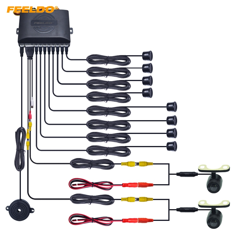 FEELDO 1Set Car 8 Sensor Parking Sensor with 2pcs Mini CCD Camera Dual Visual Rearview Video