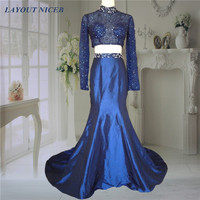 Navy Blue High Neck Two Pieces Beading Long Sleeve Prom Dress 2016 Party Dresses vestido de festa longo formatura