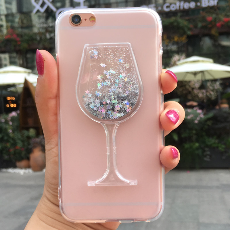 Glitter Liquid Case for <font><b>LG</b></font> K3 Lte <font><b>K100</b></font> K100DS 4G Wine Glass Case for <font><b>LG</b></font> K3 2017 US110 Silicone Soft TPU Phone Cases Back Cover image