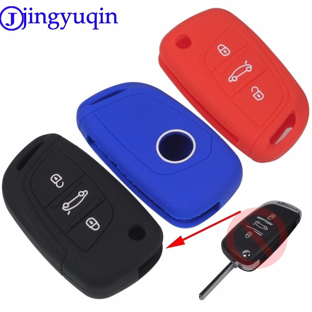 jingyuqin New 3 Buttons Remote Flid Folding Key Silicone Cover Case Fob For PEUGEOT 207 307 308 For Citroen C2 C3 C4 C5 C6 C8 jingyuqin silicone remote key fob cover for peugeot 107 207 307 407 308 607 citroen c1 c2 c3 c4 c5 c6 c8 3 button car styling