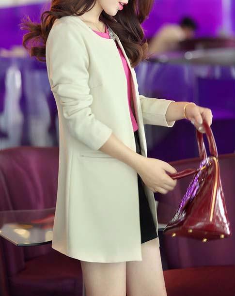2016 Kobiety Długi Blezer Kurtki 4 Kolory New Fashion Solidna Casual Plus Rozmiar Płaszcz Blazer Feminino 10
