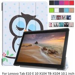 Skrzynka dla Lenovo Tab E10 TB-X104 PU skórzany pokrowiec Retro drukuj Slim stojak ochronny skóra Tab E 10 X104 Tablet Shell Fundas + długopis