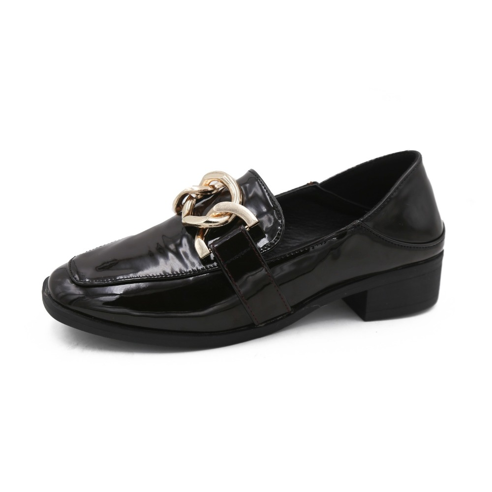 Chaîne Verni Métallique Mode Femelle Plates Noir Taille Lady Chaussures Or Rond Cuir marron Printemps Conception 39 Bout 35 Casual Appartements En Femmes Zd8wEIEgqn