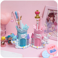 Creative Gift Unicorn Cute Pen Holder Kawaii Desk Brush Pot Pencil Holder Resin Office Stationary Organizer