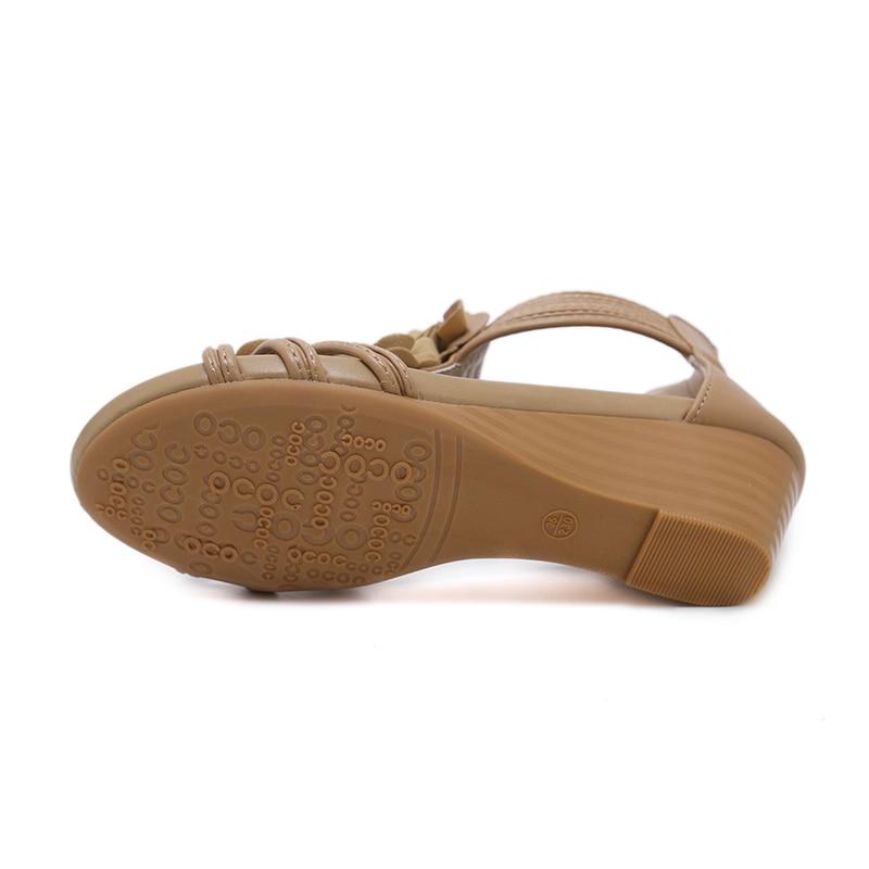 Fleur Mode Sandales Chaussures Coins D'été Ribetrini Loisirs Nouveau Douce noir Apricot Talons Femmes Femme WavWpxH