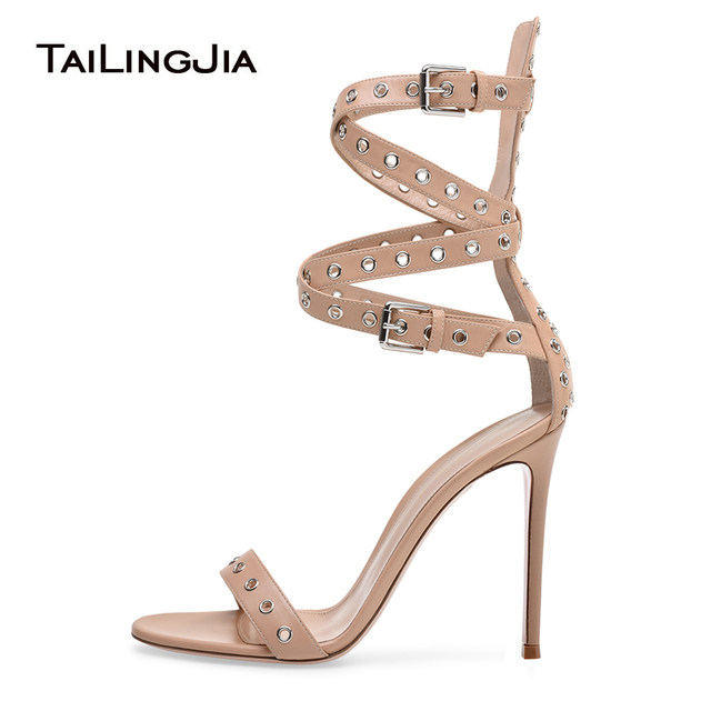 dd8d5c1f1b16 Women Grommet Ankle Wrap High Heel Racy Sandals Open Toe Nude Heels with Straps  Stiletto Heel Dress Shoes Ladies Summer Shoes