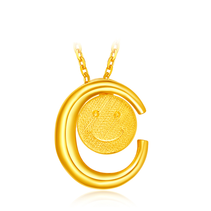 Pure 999 Yellow Gold Pendant Women Moon Smile Face Pendant 2.30g