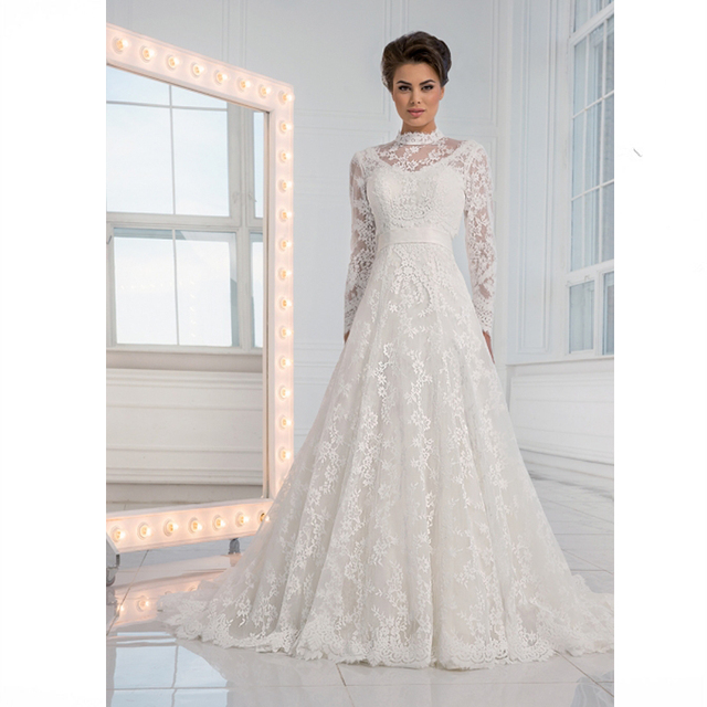 Noble White High Neck Floral Lace A Line Wedding Dresses Long Sleeve ...