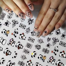 цена на Water Nail Stickers Decal 3D Cute Panda Couple Geometric Patterns Design Transfer Nail Art Decorations Slider Manicure stickers