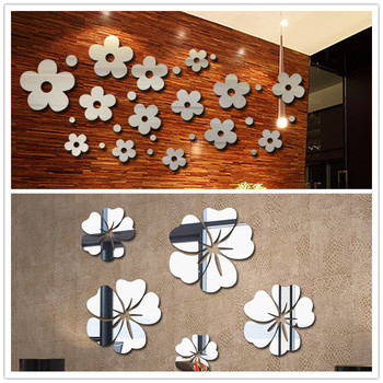 Flower Crystal Acrylic Mirror Decorative Sticker 3D DIY Wall Sticker Wall Decal Home Decol Home Decoration Bathroom Shower Room 1