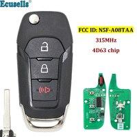 2 + 1/3 botões Virar Chave Keyless Entry Fob Remoto 315 MHz para Ford Fusion 2013-2015 FCC ID: n5F-A08TAA HU101