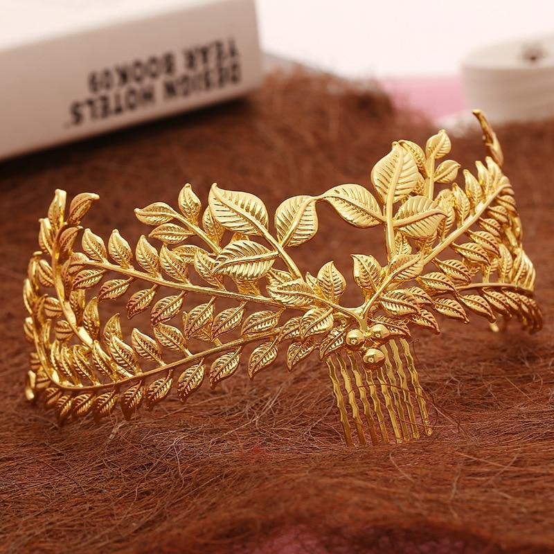 Новий дизайн ювелірних волосся ювелірні волосся гребінець золото листя корона листя весільні аксесуари оптом жінок головний убір