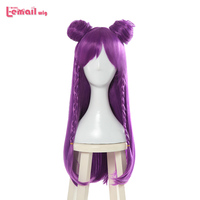 L email wig Game Character LOL K/DA Kaisa Cosplay Wigs 80cm Long Purple KDA Heat Resistant Synthetic Hair Perucas Cosplay Wig