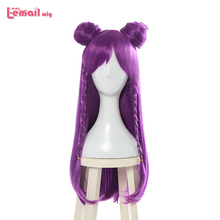 цена на L-email wig Game Character LOL K/DA  Kaisa Cosplay Wigs 80cm Long Purple KDA Heat Resistant Synthetic Hair Perucas Cosplay Wig