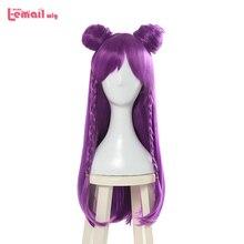 L-mail парик Игровой персонаж LOL K / DA Кайса Парики для косплея 80см Длинный фиолетовый KDA