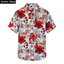 2019 Summer New Shirt Men's Casual Red Flower Short-sleeved Shirt Fashion Trend Plus Size Hawaiian Shirt Brand Clothes 6XL 7XL(China)