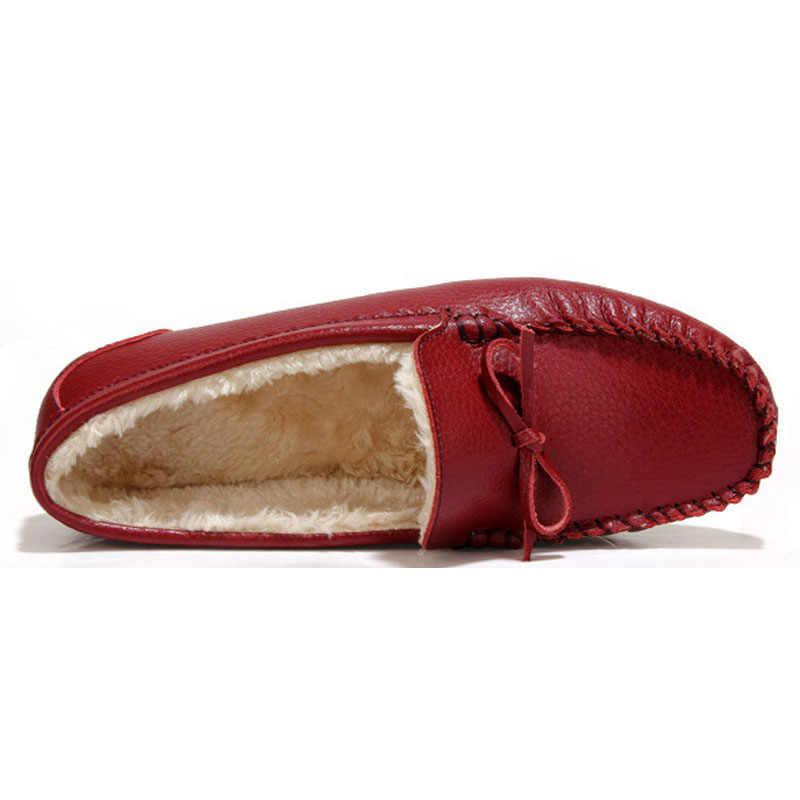 BeckyWalk Kış Peluş Kadın Loafer'lar Hakiki Deri Kadın Flats Ayakkabı Inek Derisi Rahat Anne Tekne kar ayakkabıları Kadın WSH2711