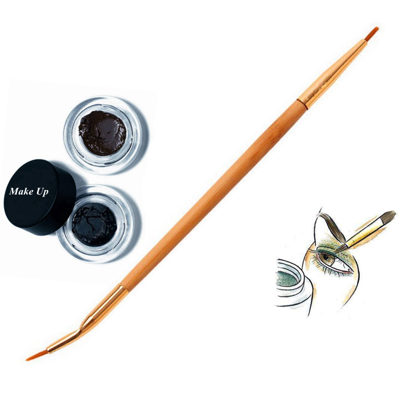 Eyeliner-Brush Makeup-Tools Bamboo-Handle Beauty Double-End Natural Fashion 1PC Bent title=