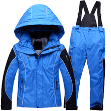 Children skiing Suits kids winter outdoor windproof waterproof thermal thickening snow jacket pants boys girls snowsuit