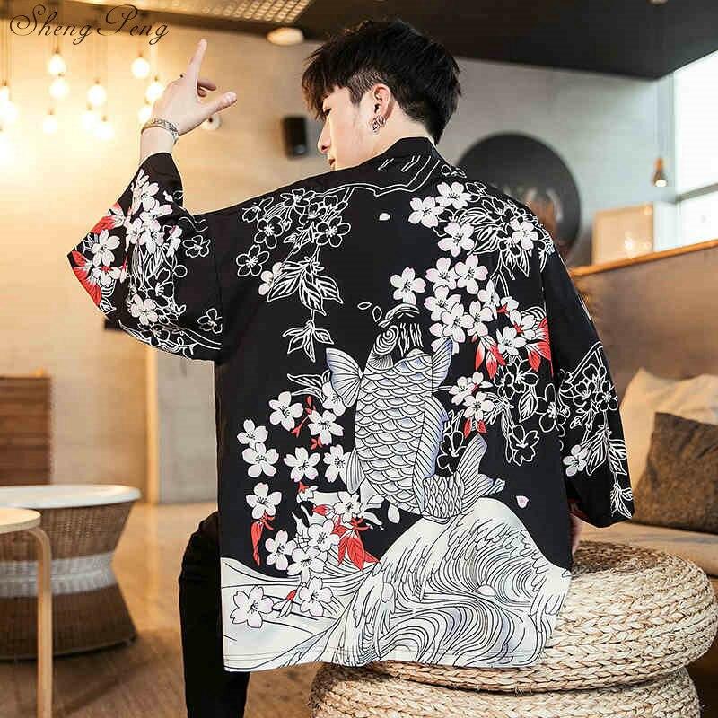 Japanese Kimono Cardigan Men Haori Yukata Male Samurai Costume Clothing Kimono Jacket Mens Kimono Shirt Yukata Haori V1532