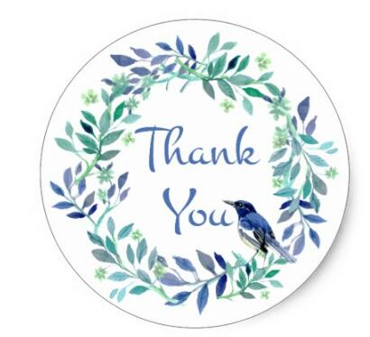 1 5inch thank you blue bird watercolor floral leaf wreath classic