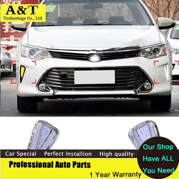 car styling 12V Turn Signal LED Daytime Running Light for Toyota Camry 2015 2016 DRL With Fog Lamp New Car Styling High Quality new 2pcs lot 12v led daytime running light car styling drl fog lamp for toyota new camry 2015 2016 with turn signal light