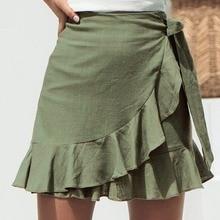 Сексуальная мини-юбка, модная женская однотонная кружевная короткая юбка с оборками, трапециевидная плиссированная шифоновая пляжная юбка в богемном стиле, faldas C4