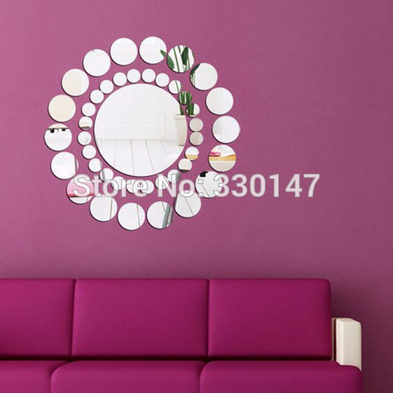 adesivo de parede grandes rondas pequeas combinacin de acrlico adhesivo espejo decorativo espejo mural de la pared pegatinas