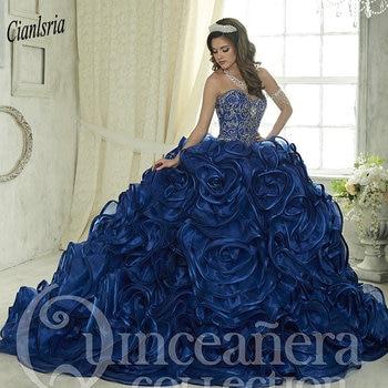0210d01cc 2019 lujoso Royal azul cordón cristales vestido De Quinceanera Vestidos De  novia volantes Vestidos De 15 años dulce 16 Vestidos