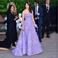 2016 Chegada Nova Strapless Ombre Vestido de Baile Sem Mangas e Com Apliques Prom Vestidos Exclusivos Vestidos De Gala Vestido de Baile Roxo