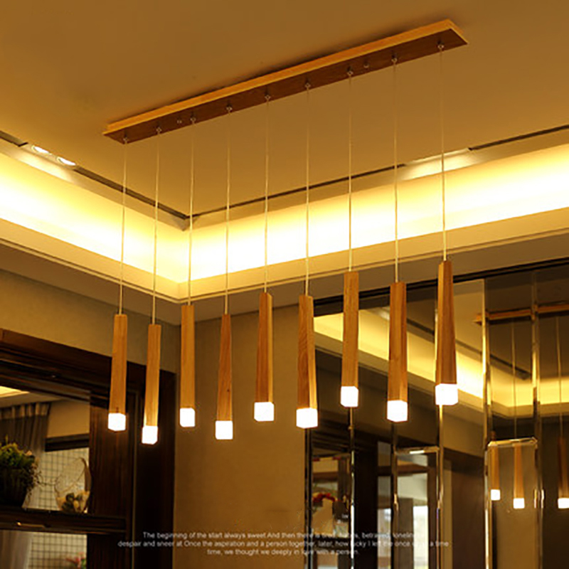 2018 new art personality simple restaurant study bedroom three single head modern LED solid wood long match stick chandelier new chinese style ceramic chandelier restaurant study bedroom art warm solid wood chandelier free shipping
