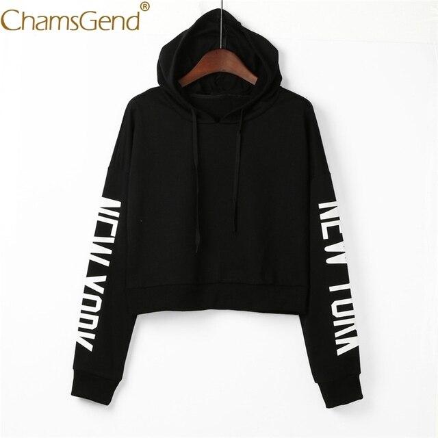 0fff87782d9 Chamsgend Hoodies Sweatshirts Women Girls Fashion NEW YORK Letter Print Crop  Top Hoody Pullover Blouse Shirt