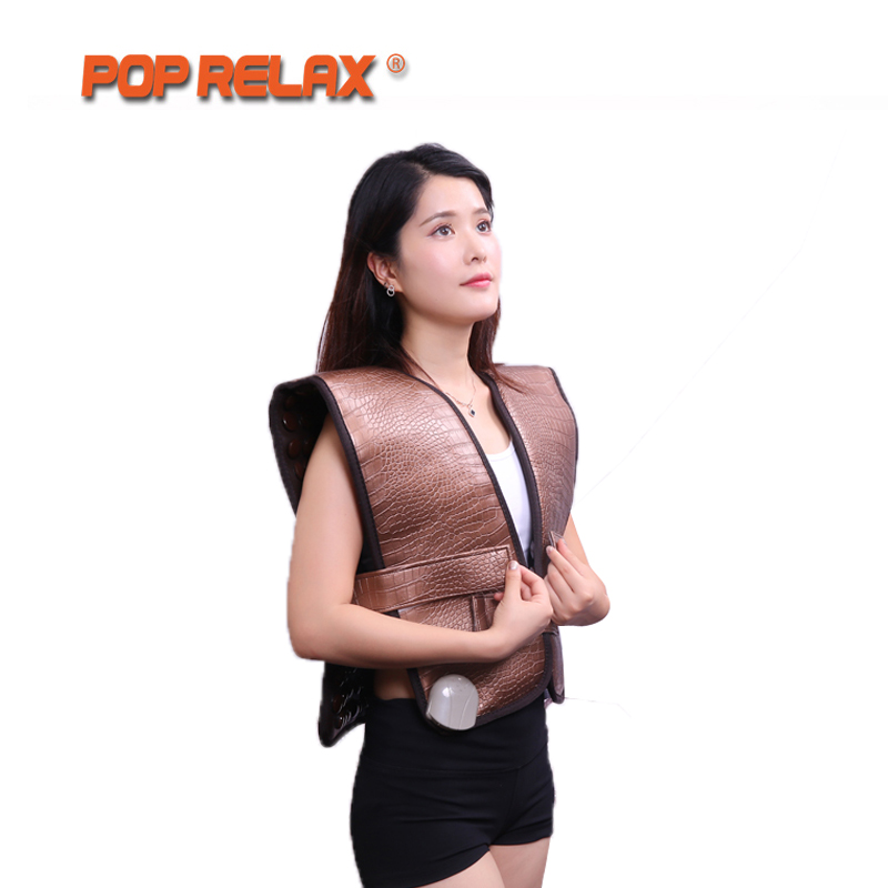 POP RELAX Jade Roller Heating Belt Back Pain Relief Waistcoat Cervical Infrared Therapy Spine Care Stone Thermal Mat 220V pop relax electric vibrator jade massager light heating therapy natural jade stone body relax handheld massage device massager