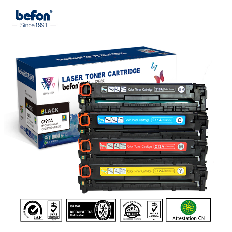 befon Color Toner Cartridge 210 set Compatible for HP CF210A CF211A CF212A CF213A 131A LaserJet Pro 200 color M251nw M276n/nw new cyan toner compatible for hp laserjet pro cf411x m452 dn dw nw m470 tri color 5000 pages free shipping hot sale