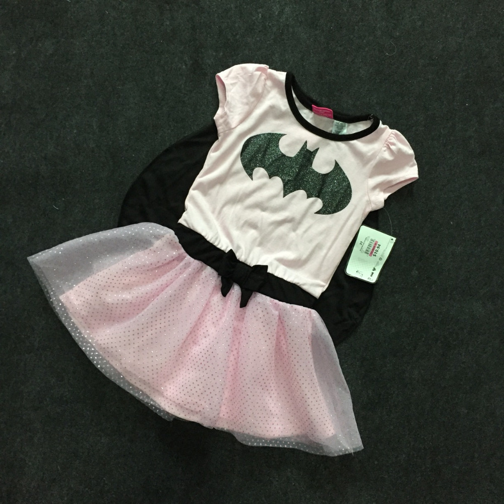 ,7pcs/lot 1-5T Baby Girls Batman Dress with Cloak,Cosplay Stage Wear Clothing,Kids costumes pink party dress