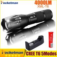 Lanterna CREE XM L T6 4000LM Tactical Flashlight Torch Zoom Linternas LED Flashlight For 3xAAA Or