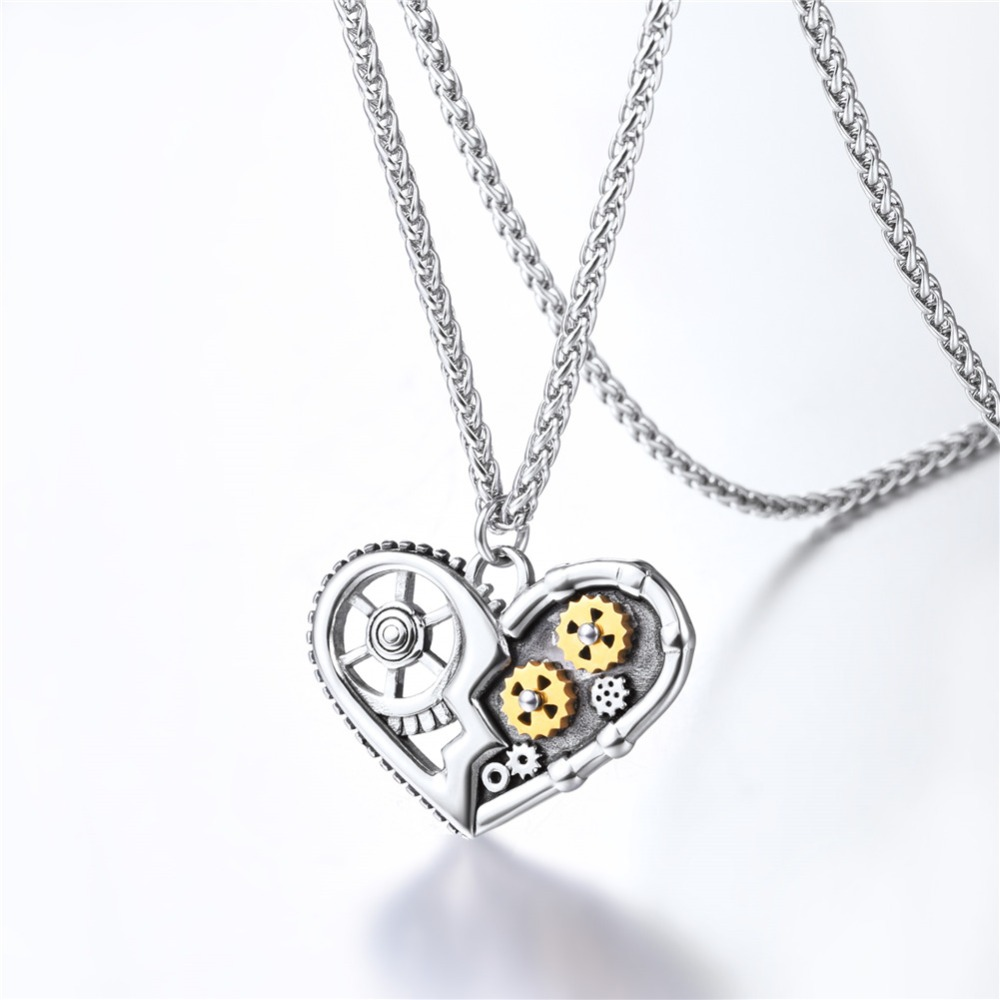 Steampunk Necklaces Antique Heart Hollow Pendant Mechanical Gear Patterns Chain Necklace Jewelry For Men Women